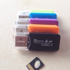 High speed USB2.0 reader Mini Mini compact mobile phone memory card portable card reader Random color micro / sd Unlimited high speed