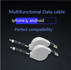 iPhone Android Multifunctisonal Data cables white 1m