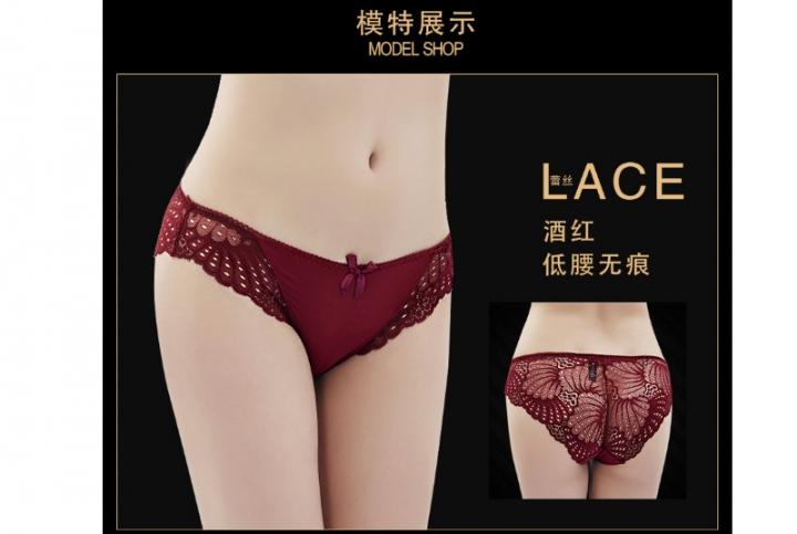 c95c6b00e Low waist ice silk underwear sexy allure lace edge transparent plus fat MM  Europe edition XXXL