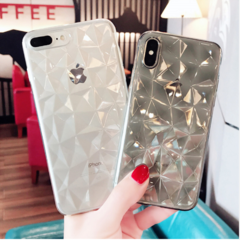 Diamond Texture iphone Cases For iPhone 6 6s 7 8 Plus X XR XS Max Soft Phone Cover for iPhone 7 black iphone 6 / 6s