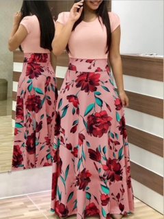 Fashion Women's Dress Floral Printed Dress Red And White m pink