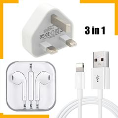 Apple IPhone Charger Headset Set 3 In 1 White as picture