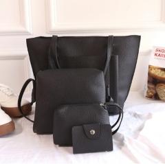 New Women Handbag Pouch Bags Card Bag Shoulder Bag Totes Purse 4pcs Set Composite Bags Crossbody Bag black 1