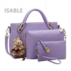 Isable Handbag 5 colors Classic Fashion Women Luxury Handbag PU Leather Genuine Bags purple 1