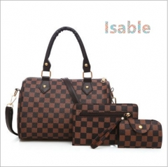Isable Printed three-piece set of high-end high-volume fashion classic lady pu leather grid 1