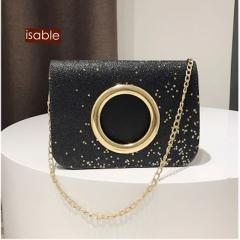Isable Women ring bright fashion single shoulder slanting chain travel bag. black 1