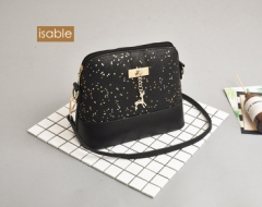 Fad, sequins, fawn, small square bag, women's single shoulder sloping across small bags. black 1
