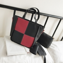 Isble fashion handbag shoulder bag handbag  plaid splicing   4pcs red 1