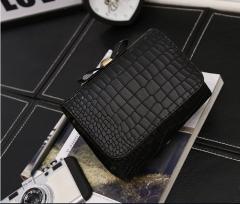 women's bag trend concise crocodile pattern single shoulder bag fashion casual bow skew spanning bag black one