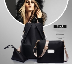 Fashion Women Waterproof Handbag Wallet Lady Backpacks 3Pcs/Set black 1