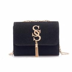Small bag of women,super fire fashion tassel chic chain girl little satchel Joker shoulder bag black 1