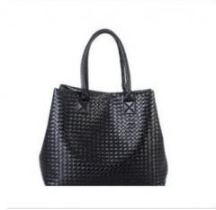 Fashion Women Casual Tote Bag Leather Handbags Big Brand Weaving Series black 1