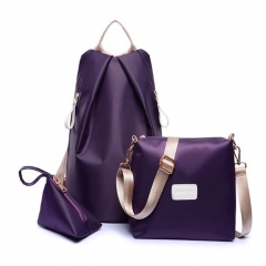 Fashion Women Waterproof Handbag Wallet Lady Backpacks 3Pcs/Set purple 1