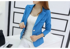 2018 New Long-sleeved Slim Women Blazers And Jackets Small Women Suit Korean Version Ladies Blazer sky blue s
