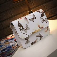 version of fashion single shoulder printed Narcissus single shoulder skew spanning small square bag white 1