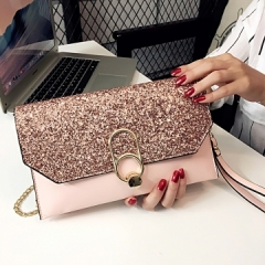 2018 New Hot Of Hand Package Women Fashion Sequins Envelope Bag Personality Clutch Purse Leather gray 1