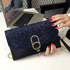 2018 New Hot Of Hand Package Women Fashion Sequins Envelope Bag Personality Clutch Purse Leather black 1