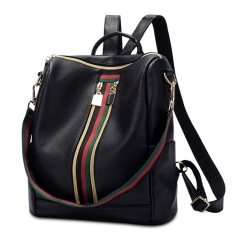 New trend ladies PU shoulder bag fashion wild casual backpack handbag black 1