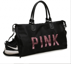Waterproof large capacity letter man Travel Bag Pink sequins shoes dry wet separation female gym bag black bag
