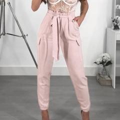 Haren sticky bag waist high waistband lace nine fashionable pants pants pink s