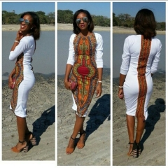 African Women Clothing White dashiki traditional African Dress Fashion succinct Print V Neck s white