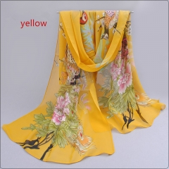 Lady's printed scarf, peacock chiffon scarf, thin scarf, scarf, beach towel, sunscreen. yellow 1