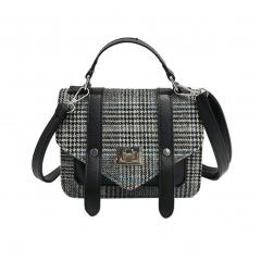Leather famous plaid bag women bag cross body vintage messenger leather shoulder bags plaid handbags black 1