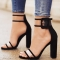 fashion hot women sandals thick high heels shoes sexy transparent ankle sandals for ladies black 34