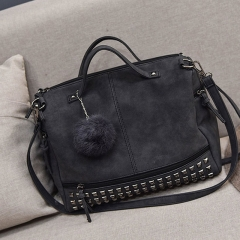Fashion Vintage Nubuck Leather Ladies Handbags Rivet Larger Women Bags Hair Ball Shoulder Bag black 1