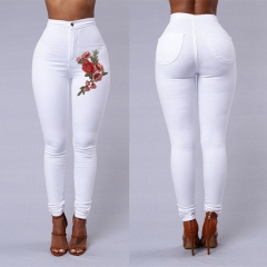 ISABLE Fashion Women High Waist Emboridered Skinny Stretch Pencil Long Slim Casual Leggings Jeans white s