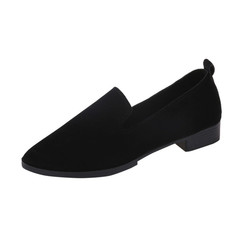 Ladies Slip On Flat Sandals Casual Shoes Solid Fashion Female frosted face pointed plain flat shoes black 35
