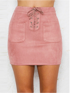 s——xl  Women Leather  Bandage High Waist Party Pencil Short Mini Skirt  s Brief Solid Daily Skirts pink m