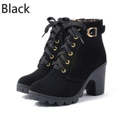 New Autumn Winter Women Boots High Quality Solid Lace-up European Ladies shoes black 35