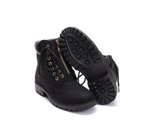 1 Pairs Plus Size 36-41 PU Two Ways Wear Ankle Boots Women's Shoes Outdoor Hiking Martin Boots black 35