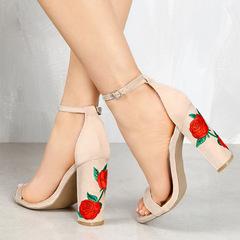 Fashionable lady high heel rose printed belt decorating high heel shoes white 34