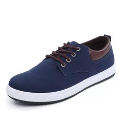 ISABLE Brand- a pair of large men's shoes canvas shoes fashion low-end breathable leisure men's blue 38