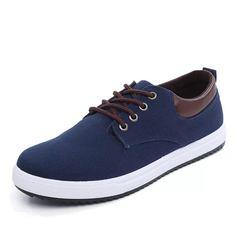 ISABLE Brand- a pair of large men's shoes canvas shoes fashion low-end breathable leisure men's blue 38