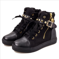 ISABLE Brand - a pair of women's shoes, metal zipper high-top shoes, flat-soled canvas shoes black 35
