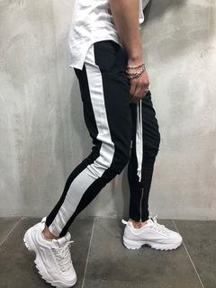 ISABLE Brand - A New Hip-hop Sports Leisure Men's Bottom Pants Zipper Stitching Pants Black white edge l