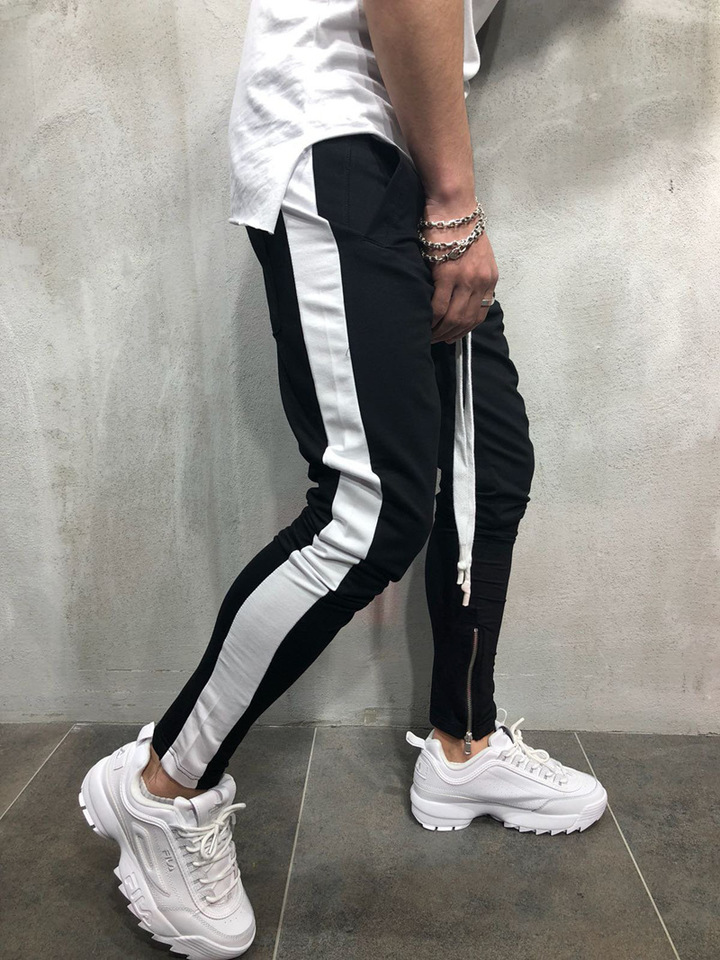 ISABLE Brand - A New Hip-hop Sports Leisure Men's Bottom Pants Zipper Stitching Pants Black white edge l