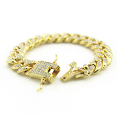 ISABLE Brand - European and American hip-hop hiphop men's fashion bracelet jewelry diamond jewelry golden Length 20 cm wide 1.2 cm