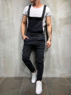 ISABLE Brand-INS hot fashion men's suspender jean pants tear jeans pants popular overalls black s