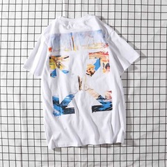 ISABLE Brand-INS Hot Selling 22 Kinds of Fashion off-white Fashion Short Sleeves white1 m cotton