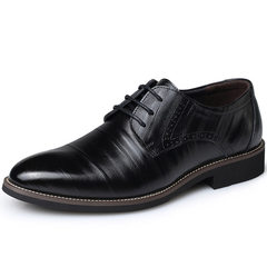 ISABLE-Genuine Leather Men's Dress Shoes British Fashion Lace Up Shoes Formal Oxford Classic   Shoes black 38 cowhide