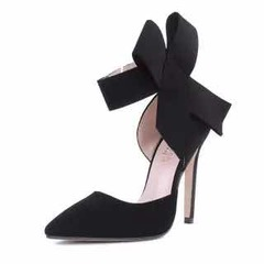 ISABLE -Brand Super large butterfly pointed suede hollow high heel single shoes black 35