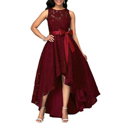 ISABLE Brand-Sexy Party Dress Women Lace Maxi Dress Sleeveless High Low Belted Irregular Swing s Claret
