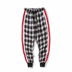 ISABLE- men's Leggings nine-minute trousers teenager sports pants trend men's trousers black and white m(Less than 50KG)
