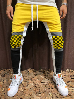 ISABLE Brand-Men's leisure sports pants Plaid color hip-hop fitness feet stitching pants yellow m