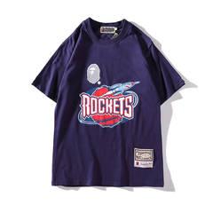 ISABLE BapeTee Ape Head NBA Joint Rocket Bulls Lakers Short-sleeved T-shirts Ins Tide Men and Women blue m
