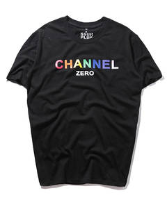 ISABLE Brand-SSUR 18SS RAINBOW Series Rainbow English Letter Banner Printed Short Sleeve T-shirt black m